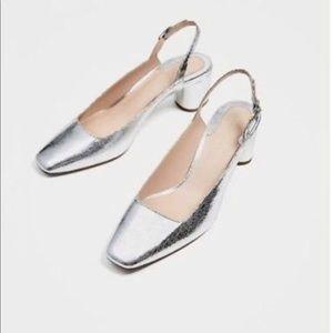 Zara silver metallic court heel sling back